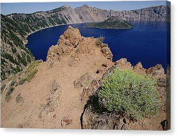 Wizard Island And Lake Shore, Mt Canvas Print by Gerry Ellis