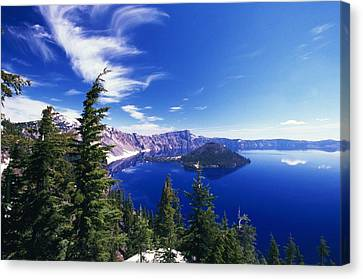 Wizard Island At Crater Lake National Canvas Print by Natural Selection Craig Tuttle