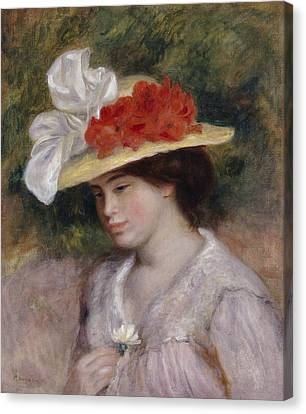 Woman In A Flowered Hat Canvas Print by Pierre Auguste Renoir