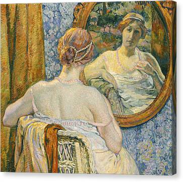 Woman In A Mirror Canvas Print by Theo van Rysselberghe