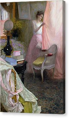 Woman In An Interior   Canvas Print by Albert Breaute