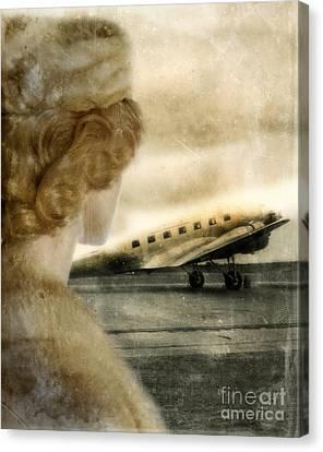 Woman In Fur By A Vintage Airplane Canvas Print by Jill Battaglia