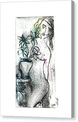 Woman In Waiting Canvas Print by Lillian Michi Adams