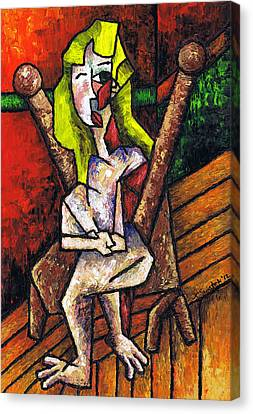 Woman On Wooden Chair Canvas Print by Kamil Swiatek