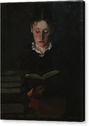 Woman Reading Canvas Print by Signe Scheel