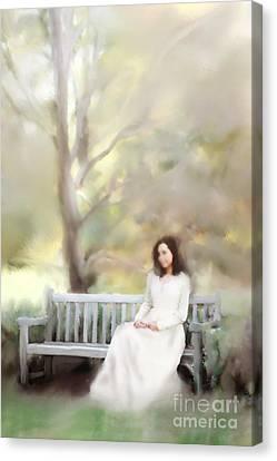 Woman Sitting On Park Bench Canvas Print by Stephanie Frey