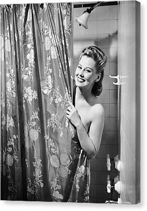 Woman Taking Shower Canvas Print by George Marks