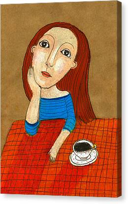 Woman Thinking Canvas Print by Jenny Meilihove