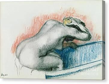 Woman Washing In The Bath Canvas Print by Edgar Degas