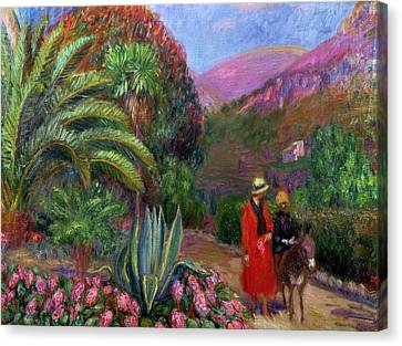 Woman With Child On A Donkey Canvas Print by William James Glackens