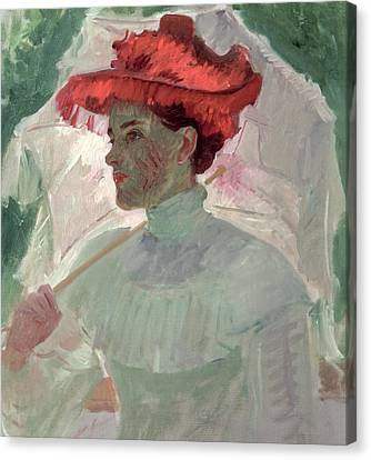 Woman With Red Hat And Parasol Canvas Print by Frank Duveneck