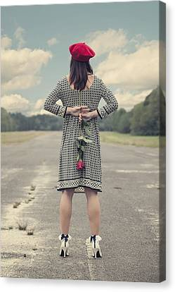 Woman With Red Rose Canvas Print by Joana Kruse