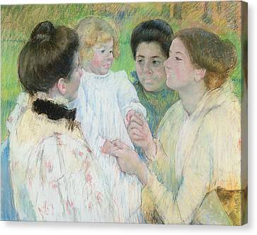 Women Admiring A Child Canvas Print by Mary Stevenson Cassatt