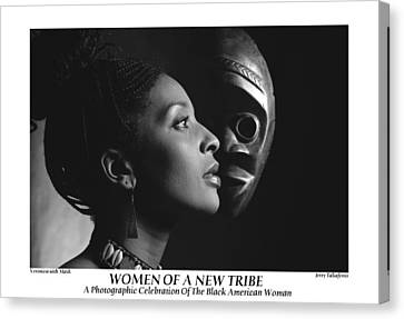 Women Of A New Tribe - Veronica With Mask Canvas Print by Jerry Taliaferro