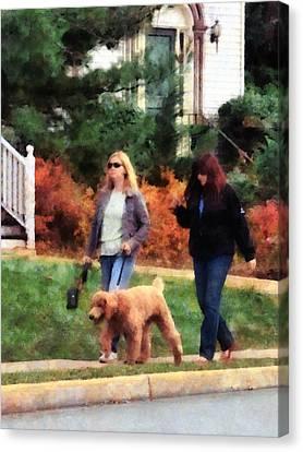 Women Walking A Dog Canvas Print by Susan Savad