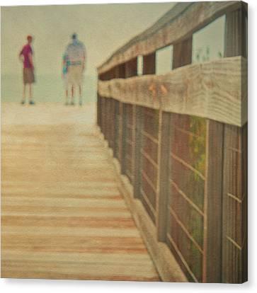 Wood And Mesh Bridge Canvas Print by Lynda Murtha