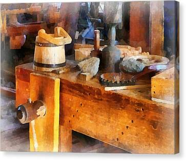 Wood Shop With Wooden Bucket Canvas Print by Susan Savad