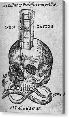 Woodcut Of Skull, Snake And Hourglass Canvas Print by Middle Temple Library