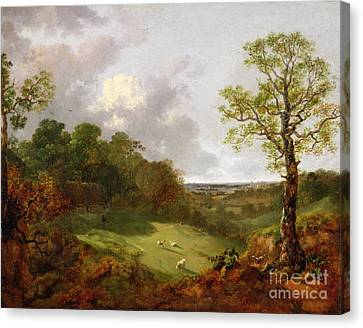 Wooded Landscape With A Cottage - Sheep And A Reclining Shepherd Canvas Print by Thomas Gainsborough