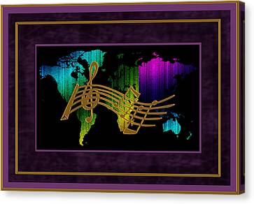 World Map Music Canvas Print by Daryl Macintyre
