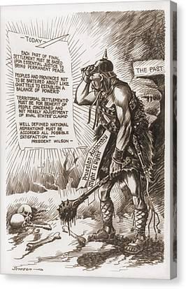 World War 1 Cartoon Of A Barbaric Canvas Print by Everett