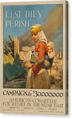 World War I Poster. Lest They Perish Canvas Print by Everett