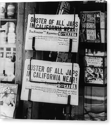 World War II, News Headlines Announcing Canvas Print by Everett