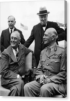 World War II. Seated, From Left  Us Canvas Print by Everett