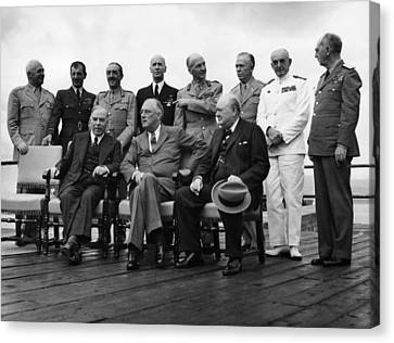 World War II. Seated, From Left W.l Canvas Print by Everett
