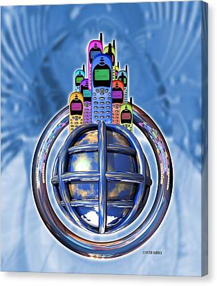Worldwide Mobile Telephone Use Canvas Print by Victor Habbick Visions