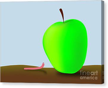Worm And Big Apple Canvas Print by Michal Boubin