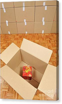 Wrapped Gift Box Inside Cardboard Box Canvas Print by Sami Sarkis
