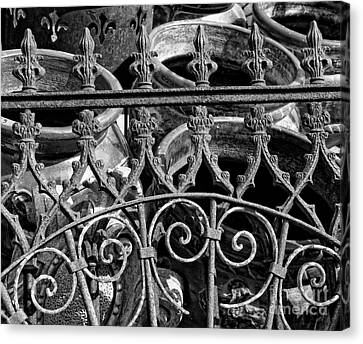 Wrought Iron Gate And Pots Black And White Canvas Print by Kathleen K Parker