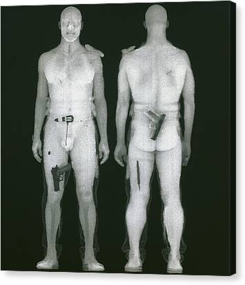 X-ray Views Of Man During Bodysearch Surveillance Canvas Print by American Science & Engineering