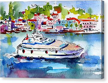 Yachting Off The Coast Of Amalfi Italy Watercolor Canvas Print by Ginette Callaway