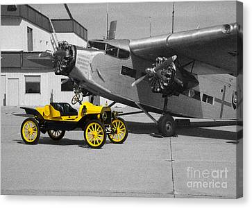 yellow and Black and White Canvas Print by Michael Flood
