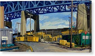 Yellow And Blue Brooklyn Canvas Print by Thor Wickstrom