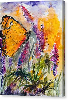 Yellow Butterfly On Lupines Canvas Print by Ginette Callaway
