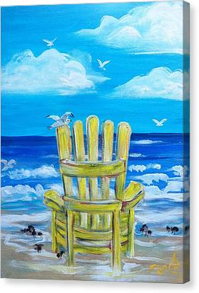 Yellow Chair Canvas Print by Doralynn Lowe