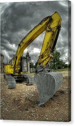 Yellow Excavator Canvas Print by Jaroslaw Grudzinski