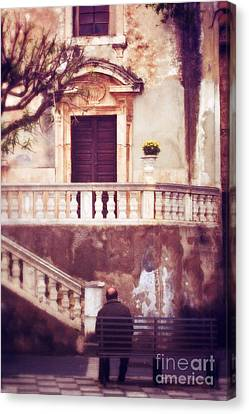 Yellow Flowers In A Vase In Taormina Sicily Canvas Print by Silvia Ganora