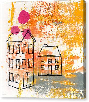 Doodle Art Canvas Print featuring the painting Yellow House by Linda Woods