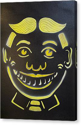 Yellow On Black Tillie Canvas Print by Patricia Arroyo