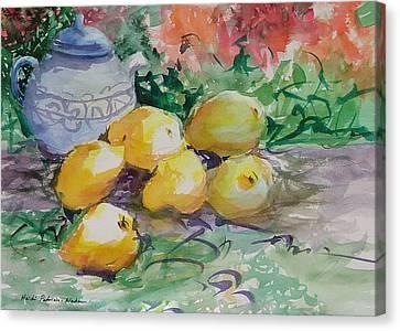 Yellow Pears Canvas Print by Heidi Patricio-Nadon