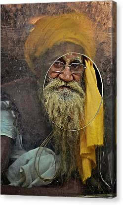 Yellow Turban At The Window Canvas Print by Valerie Rosen