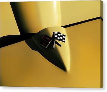Yellow Vette Badge Canvas Print by Douglas Pittman