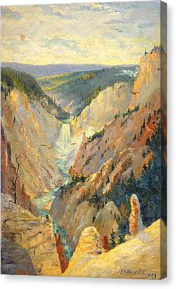 Yellowstone Falls And Hoodoos Canvas Print by Lewis A Ramsey
