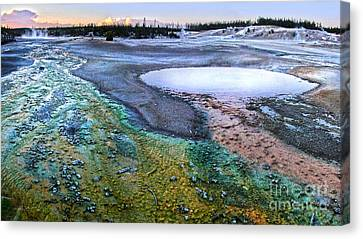 Yellowstone Norris Geyser Basin At Sunset - 04 Canvas Print by Gregory Dyer