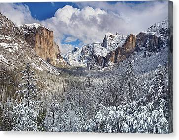 Yosemite Valley In Snow Canvas Print by Www.brianruebphotography.com