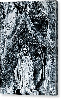 Young Aboriginal Woman And River Red Gum Canvas Print by Helen Duley
